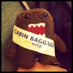 "domo won the ""miss cabin baggage"" pageant on the plane"