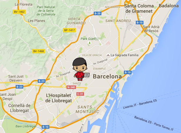 artist's rendition of me in barcelona, totally to scale.
